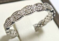 Band Stack Ring Sz 5 Platinum 925 Sterling Silver Simulated Diamond Eternity