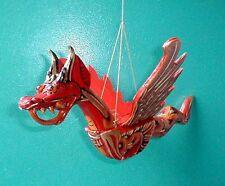 "Dragon Flying Hanging Sm 8"" made in Bali wood RED or GREEN  Naga"