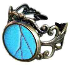 Real Butterfly Wing Bronze Ring - Adjustable Pendant Ring