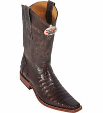 LOS ALTOS BROWN CAIMAN CROCODILE BELLY WESTERN VERSAGE SQUARE TOE BOOT EE