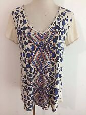 Lucky Brand Scoop Neck Knit Top T-Shirt Tee Beige w/Black Royal Blue & Coral L