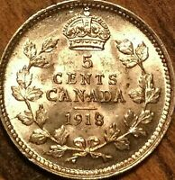 1918 CANADA SILVER 5 CENTS COIN - Lustrous Uncirculated