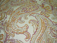 """~7 4/8 YDS~""""PAISLEY"""" FLOWERS ELEGANT EMBROIDERED UPHOLSTERY FABRIC FOR LESS"""