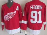 Red Wings Red Sergei Fedorov Jersey M, L, XL, 2XL, 3XL