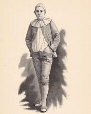 Portrait XIXe Félicia Mallet Pantomime Pierrot Chanteuse Commedia dell'Arte