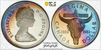 1982 CANADA SILVER DOLLAR PCGS PR68DCAM UNC MONSTER BLUE TONED COLOR GEM (DR)