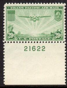 United States Scott #C 21 F/VF MNH 1937 20 Cent Green China Clipper Plate Single