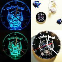 Motorhead wall Clock / Acrylic Engraved LED lamp man cave gift