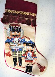 """Vtg 19"""" diagonal Needlepoint Christmas Stocking Nutcrackers Red Velvet Back"""