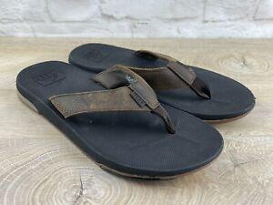 REEF Mens Brown Leather Bottle Opener Flip Flops Sandals Size 11