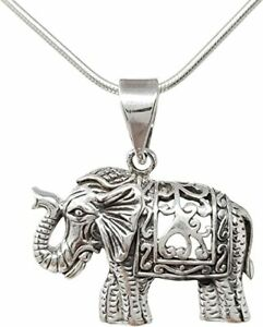 Indian Elephant Pendant 925 Sterling Silver with Snake Chain for Men and Women
