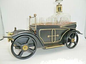 VINTAGE BAR CAR DECANTER Musical box. Whiskey/ Brandy decanter & 6 shot glasses