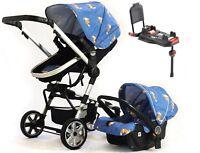 Urban Ranger 2 - 3-IN-1 Travel System Blue. Car Seat &  ISOFIX BASE Pram Buggy