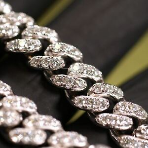 925 Sterling Silver VVS Moissanite Cuban Chain Pass Diamond Testers
