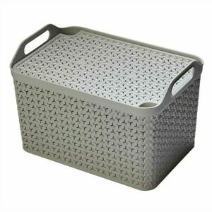 Strata ECO Baskets & Lids Stackable 3 Sizes with Handles Pink Grey & Charcoal