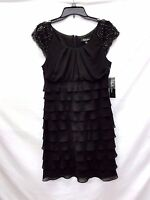 SL Fashions Women's Black Beaded Knee-length Party Cocktail Dress, Size 8