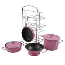Kids Play Kitchen Toys Pretend Cooking Pink Stainless Steel Pots and Pans K