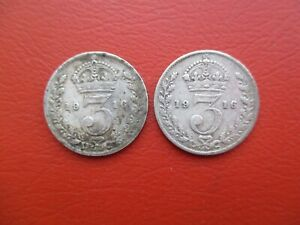 2 x 1916 silver threepence - George V - 0.925 sterling silver (ref 500)