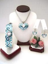 "Brighton ""SOFI"" Teal Heart Necklace-Earring-Bracelet Set (MSR$178) NWT/Pouch"