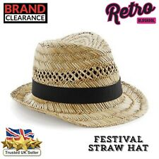 Straw Sun Hat Retro Festival Panama Crushable Trilby Hat Mens