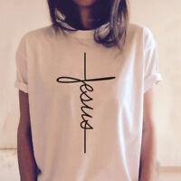 Jesus Belief Power cross T-shirt Faith Women Tops Christian Unisex Tees Gifts US