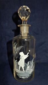 Vintage Small Clear Mary Gregory Style Glass Decanter