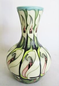 Moorcroft Pottery Vase in the Lily Come Home, signed Emma Bossons. Red Spot 18cm