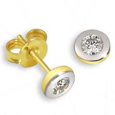 Goldmaid Ohrstecker 585 Gold Bicolor 2 Brillanten Lupenrein Ohrringe Echtschmuck