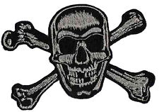 Patch écusson biker brodé patche Tête de mort grise Pirate Skull