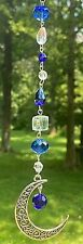 "CRYSTAL MOON SUNCATCHER-BLUE/CRYSTAL-REAR VIEW MIRROW -6""-HANDCRAFTED- # 948"