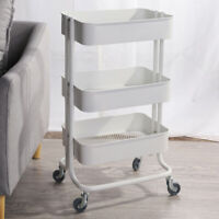Easy Assembly Vsadey 3 Tier Rolling Utility Cart with Wheels and Handle Bathroom Office Organization Heavy Duty Mobile Kitchen Storage Cart Craft Cart Storage Trolley for Kitchen White