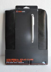 """universal zippered folio case with stylus, fits most 9 - 10"""" Tablets"""