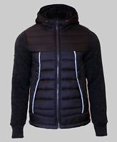 Superdry Mens New Knitted Quilted Hoody Full Zip Long Sleeve Storm Hybrid Black
