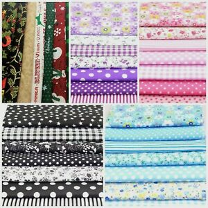 7 Mixed Cotton Fabric Material Sewing Bundle Scraps Offcuts Quilting Mask Making
