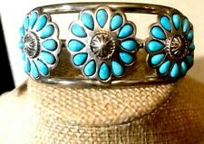 "Chaco Canyon Sleeping Beauty Turquoise ""Flower"" Sterling Silver Cuff Beautiful!!"