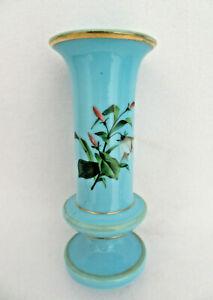 Antique Bohemia Czech Blue Floral Opaline Glass Vase