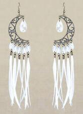 F2855F White Feather Earrings Moon Lovely Beads Chandelier Handmade Eardrop