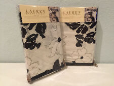 Ralph Lauren Port Palace White and Black Floral King Pillow Shams Pair