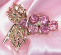 VINTAGE 60'S GOLD TONE PINK RHINESTONE BROOCH PIN G433