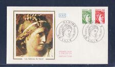 enveloppe 1er jour   Sabine  80c vert et 1f rouge   1977