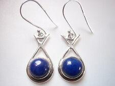 Round Lapis in Hoop 925 Sterling Silver Dangle Earrings