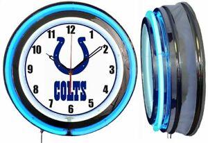 "Indianapolis Colts 19"" BLUE Neon Clock Man Cave Game Room Bar Football"