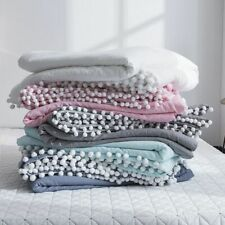 Washable Summer Quilts With Lace Solid Color Throw Blankets Soft Comforters