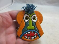 Signed Anita Silverstein Copper Enamel brooch. Funny Face. Wire hair 4