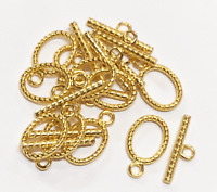 20 sets Gold Plated oval Toggle Clasp, gold twisted toggle clasps