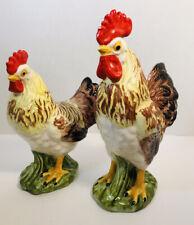 Lefton Vtg Rooster & Hen #H2396 Ceramic Figurines 9� & 7�