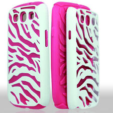 For Samsung Galaxy S III 3 i9300 Hybrid Zebra Fusion Case Phone Cover White Pink