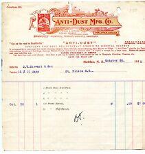 Antique Letterhead Anti-Dust Mfg Co Halifax Nova Scotia  1910