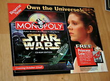 1997 Star Wars Monopoly Hasbro Interactive CD-ROM Display Pre-release Leia mint