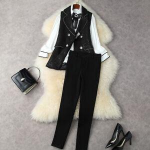 wholesale Halloween Christmas runway Lapel neck shirt Button Vest Pants suits
